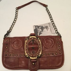 Brown Leather Flap Wrislet Purse with Buckle Chain